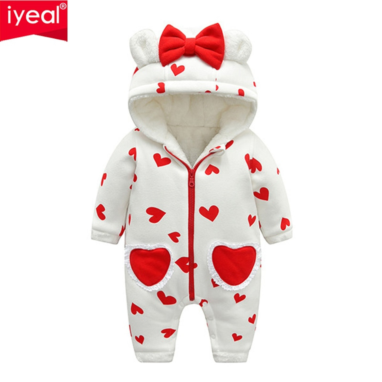8a823e61d7e6 IYEAL Newest Baby Rompers Winter Baby Girls Clothes Cute Hooded Soft ...