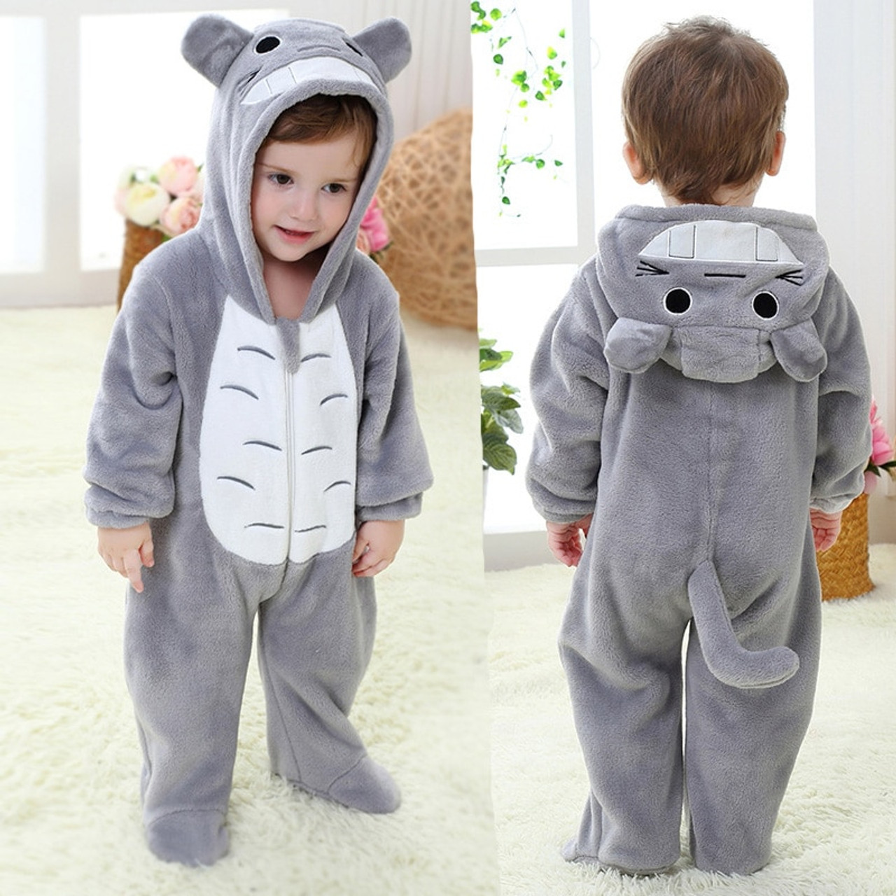 5a5c998049c Newborn Totoro Romper Hooded Sleepwear Baby Girl Clothes Cartoon Jumpsuit  Flannel Pajamas Onesie Boys Baby Rompers ...