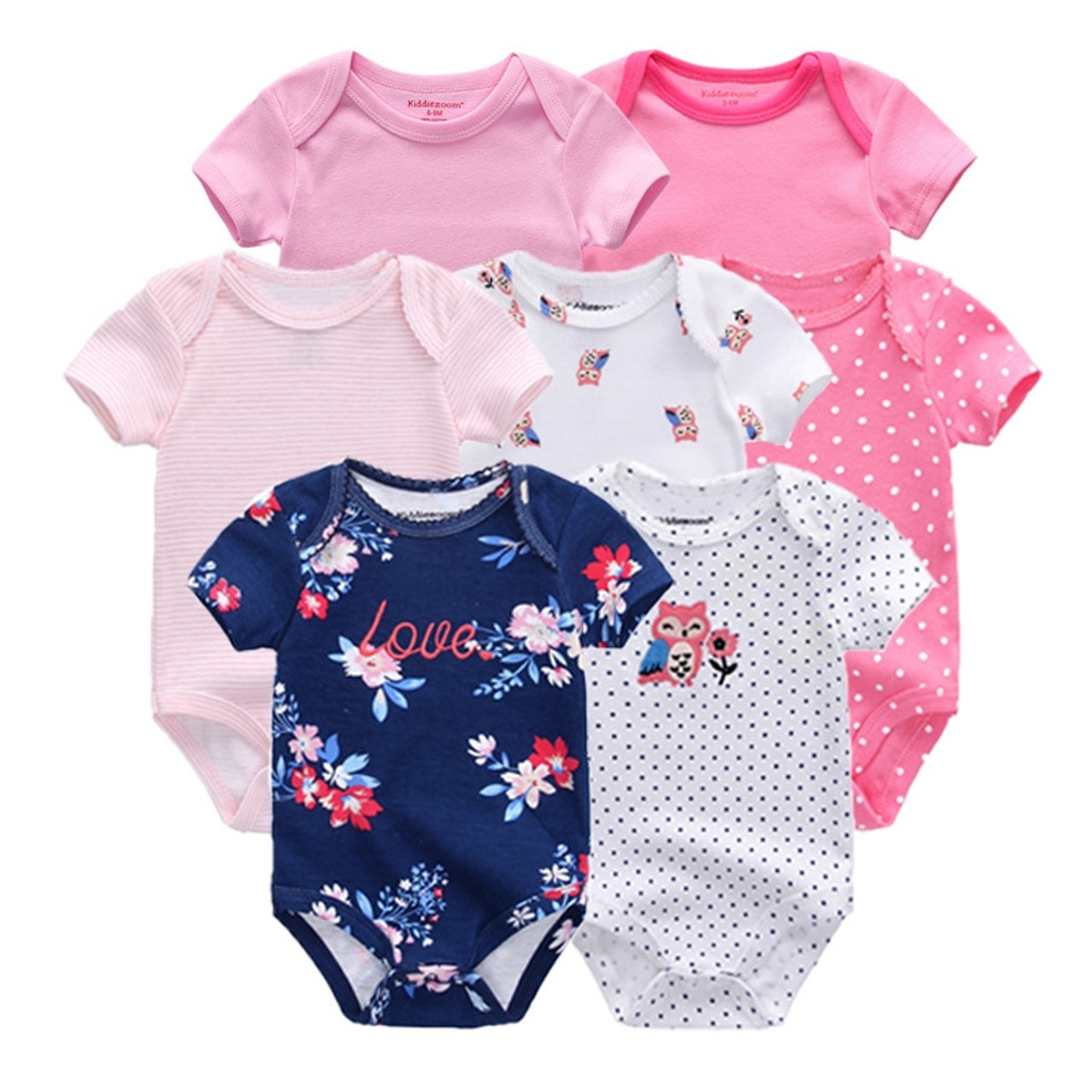 98ee494e9 7 PCS lot newborn baby clothes baby rompers short sleeve baby ...