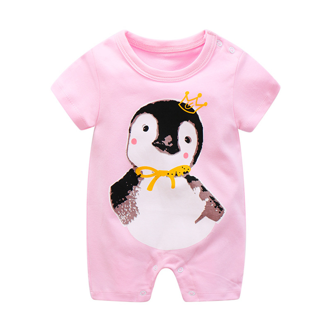 9ef90dfd2fb9 ... Summer Newborn Baby Jumpsuit Infant Crawling Short Sleeve Cotton Rompers  Baby Pajamas Cartoon Animal Clothes For ...