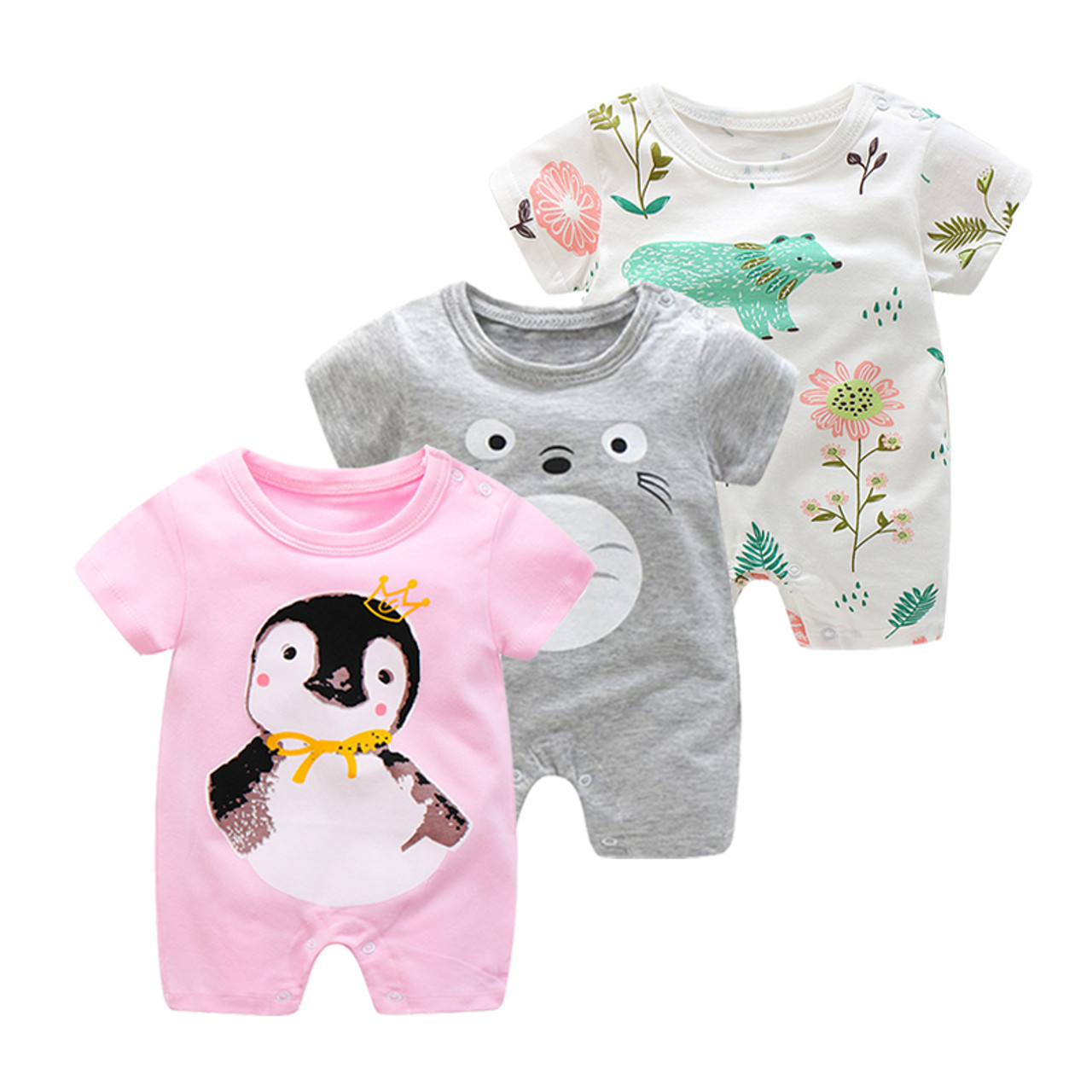 148f10c692f2 ... Summer Newborn Baby Jumpsuit Infant Crawling Short Sleeve Cotton  Rompers Baby Pajamas Cartoon Animal Clothes For ...