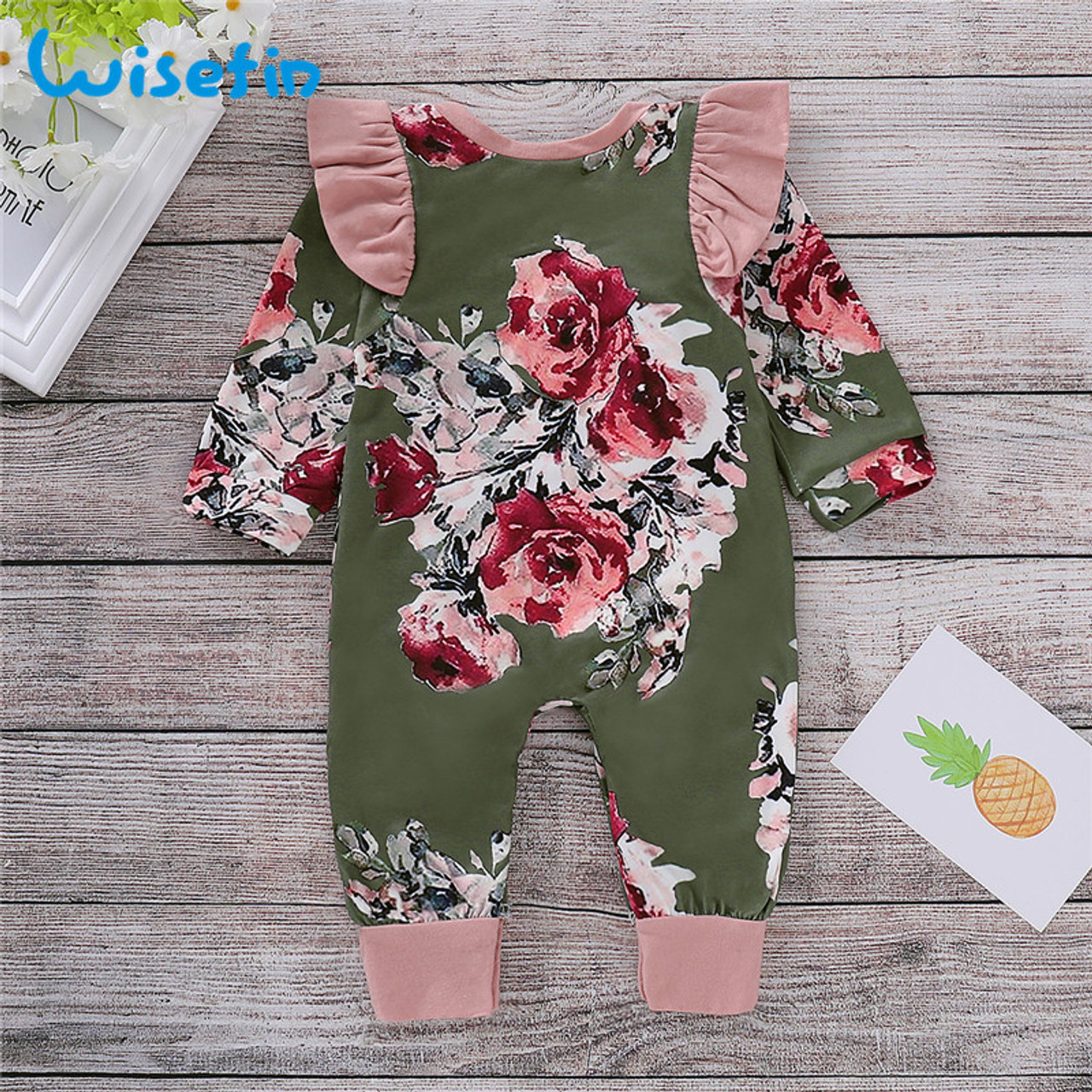 3bedb343fcdf Wisefin Newborn Girl Romper Clothes Autumn Winter Floral Ruffle Baby ...