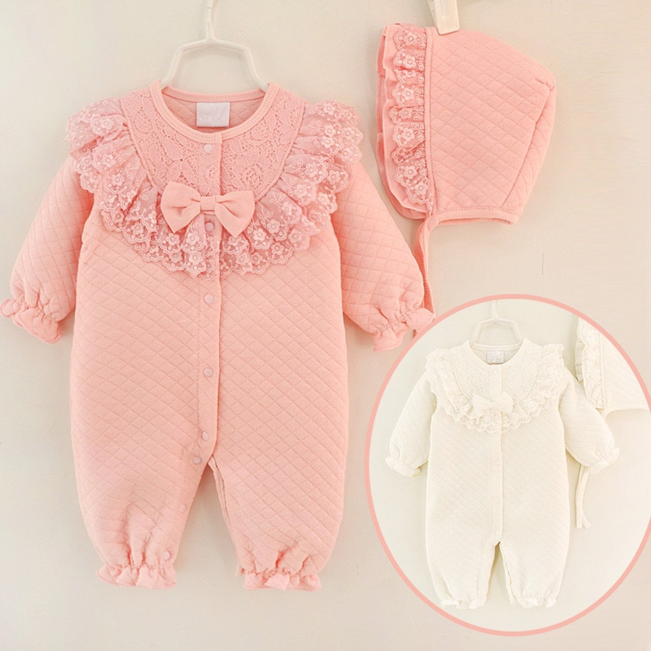 a75080846acda Lace Newborn Baby Girl Clothes Cotton Winter Thicken Coveralls Rompers  Princess Bow Girls Clothing Set Jumpsuit ...