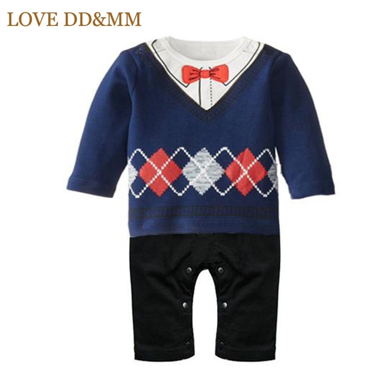 70ec4f630b ... LOVE DD amp MM Newborn Baby Rompers Clothing Baby Boys Clothes Tie  Gentleman Bow Leisure Infant ...