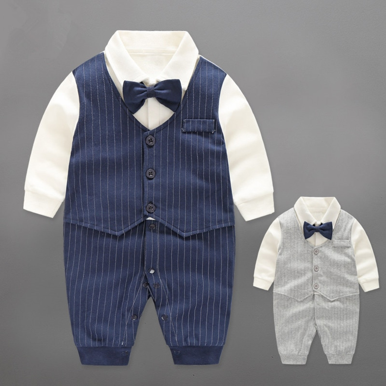898fcec5a7cbc Baby Boy Rompers Cotton Bow Tie Gentleman Party Clothing Spring Toddler  Prince Costume Infant Jumpsuits Newborn Boys Clothes