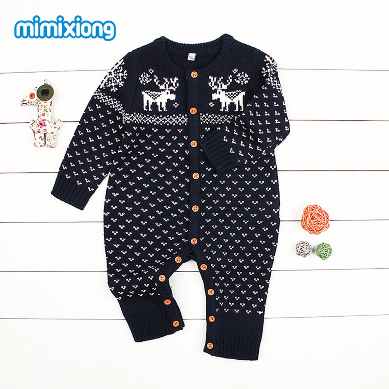 443f050046bcf Christmas Reindeer Knitted Newborn Baby Boys Girls Romper Jumpsuit Winter  Kids Costume Long Sleeve Pajamas Overalls ...
