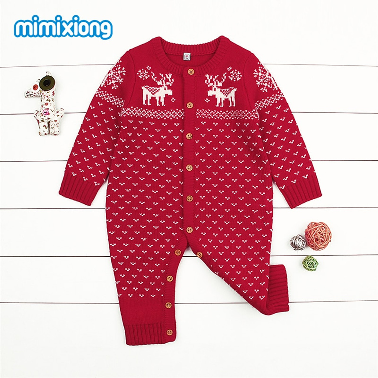 mimixiong Baby Christmas Sweater Toddler Reindeer Outfit Red Clothes