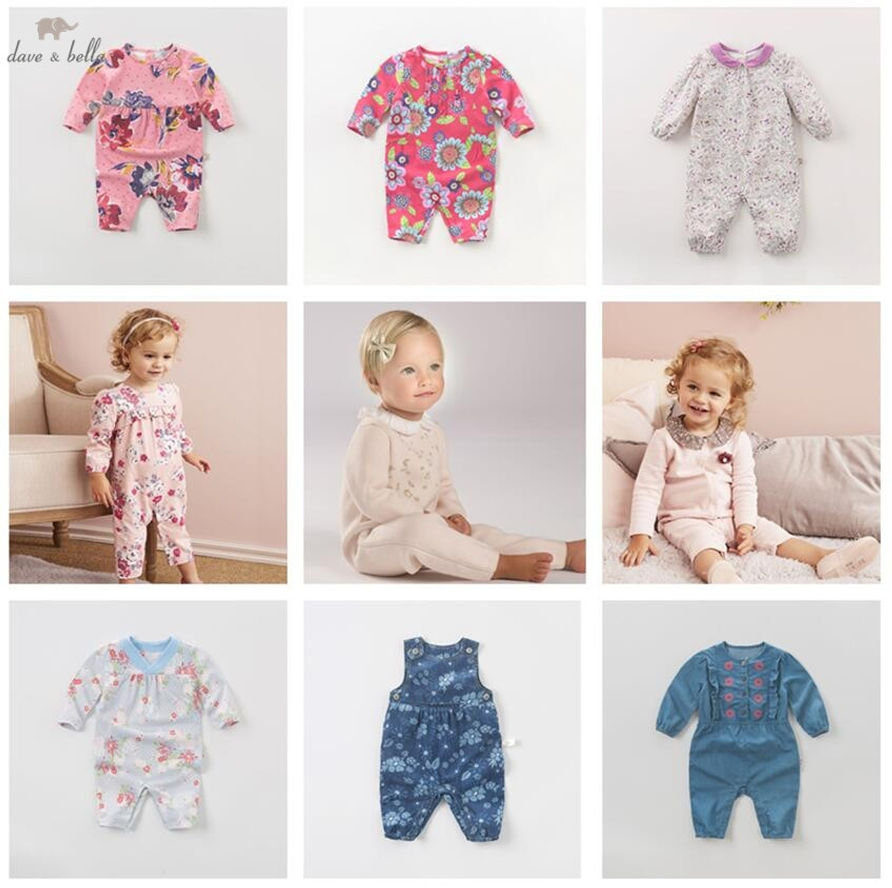 14d4e32d7 DB4017 dave bella clearance spring autumn baby girls cute infant one piece  toddle knitting romper children ...