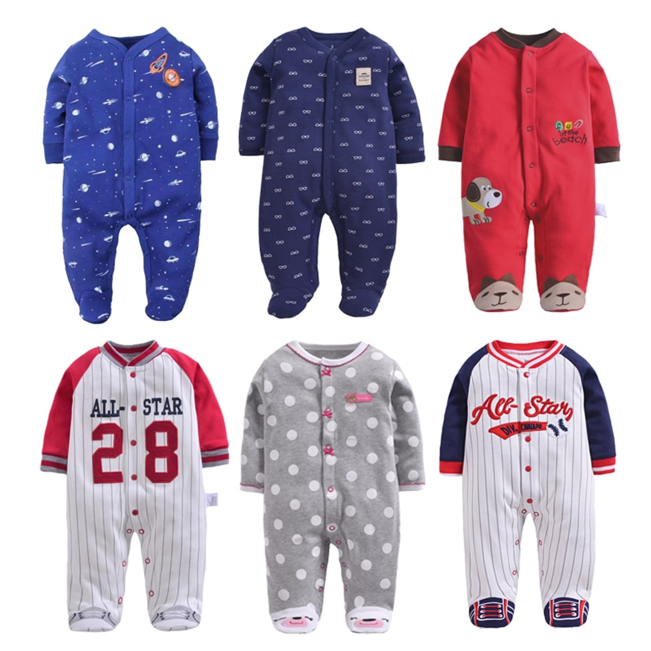 be0048761 New Born Baby Clothing 3-12M Kids Footed Pajamas Baby Boys Girls ...