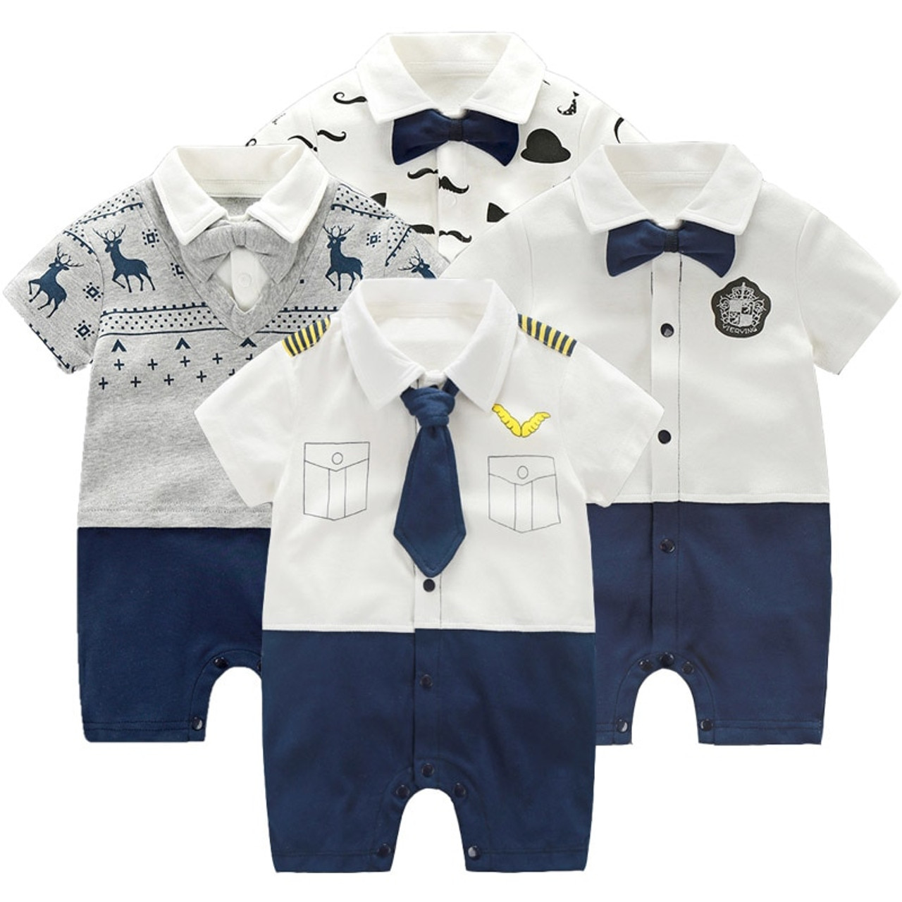 44e21befbcd2 Newborn Clothing Baby Boy Clothes Bow Tie Baby Jumpsuits Roupas Bebe Little Gentleman  Baby Boy Rompers ...