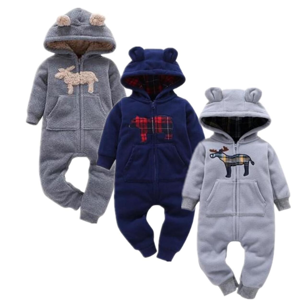 2e2c31e7b 2018 baby boys clothes girls Fleece rompers cartoon Hooded Jumpsuit ...