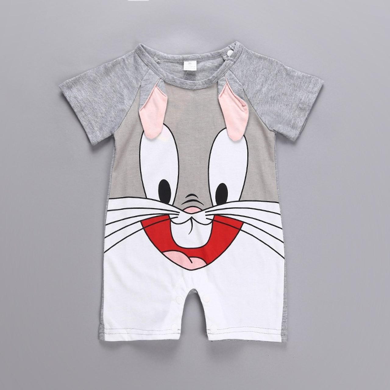 3ac2bb063 ... Cartoon Animals Monkey Cotton Baby Rompers Rabbit Short-Sleeve Baby Boy  Clothes Summer Monkey Infant ...