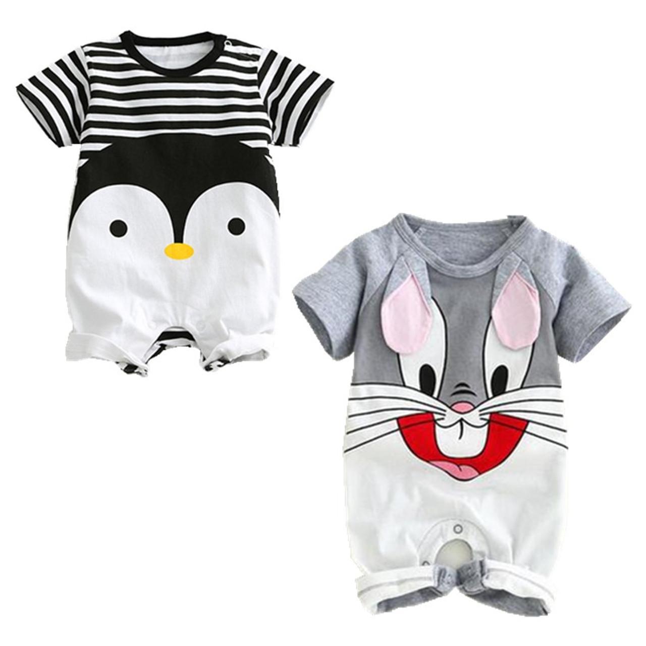 9f6ace2c6e75 ... Cartoon Animals Monkey Cotton Baby Rompers Rabbit Short-Sleeve Baby Boy  Clothes Summer Monkey Infant ...