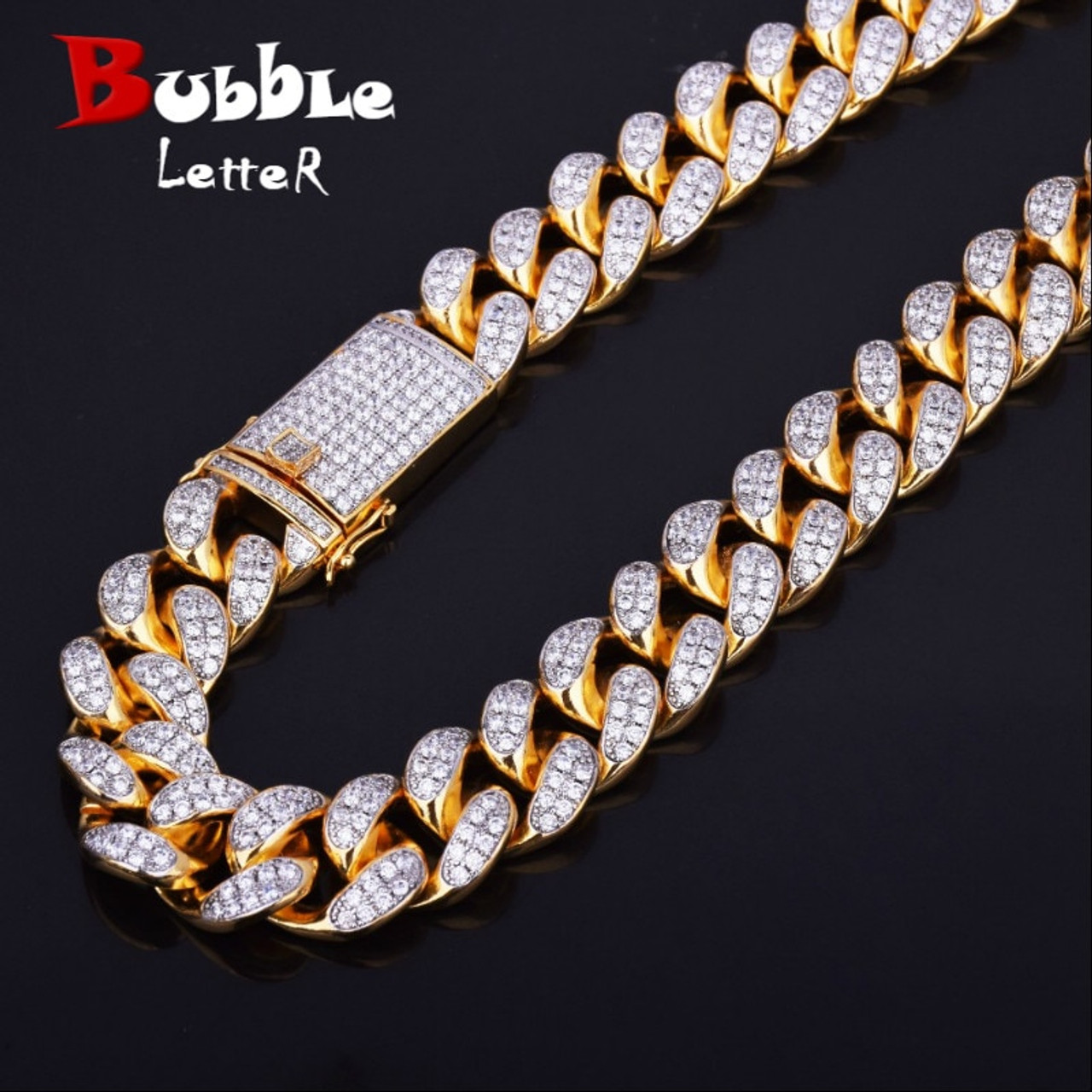 Finish Men S 20mm Heavy Iced Zircon Miami Cuban Link Necklace