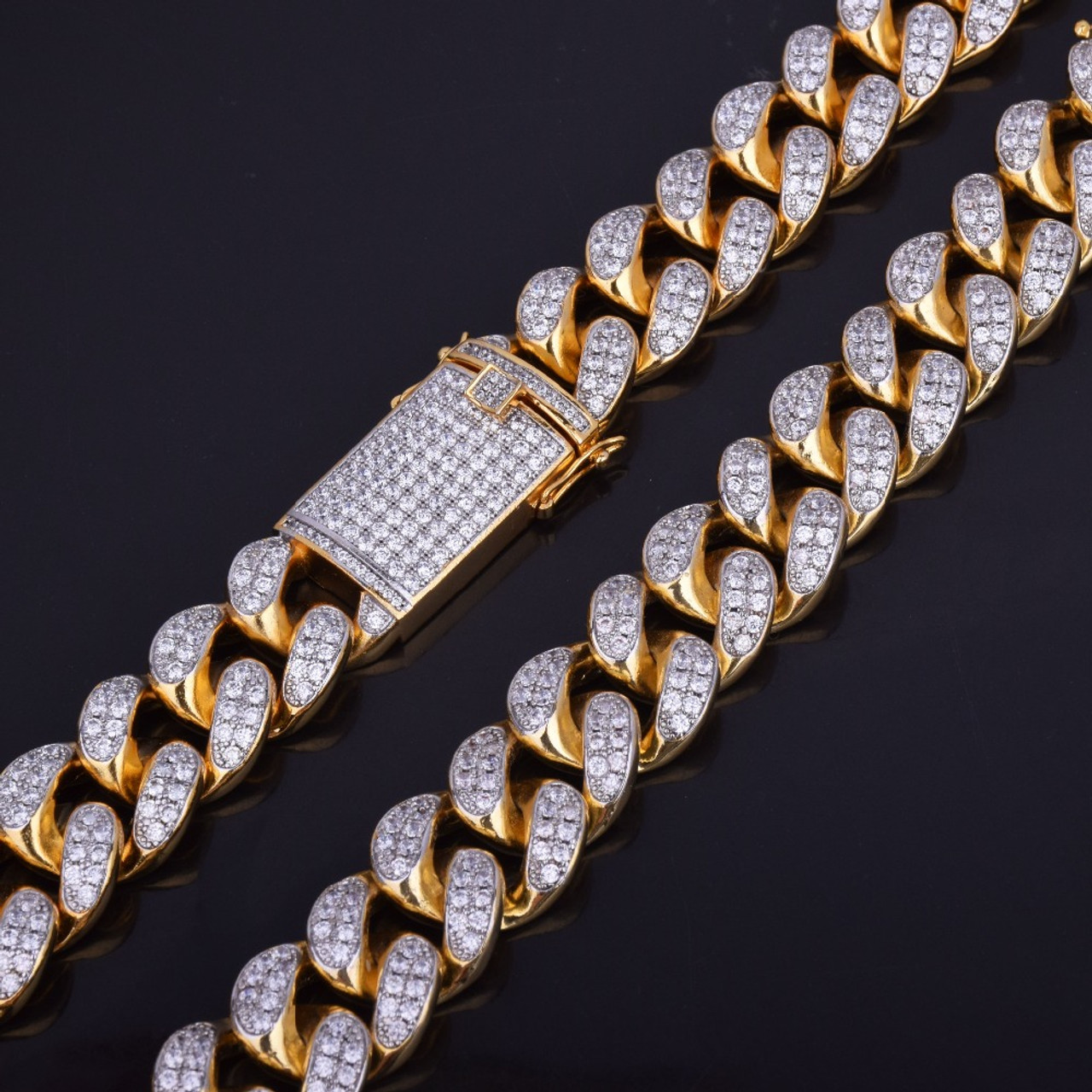 310068939 ... Finish Men's 20mm Heavy Iced Zircon Miami Cuban Link Necklace Choker  Bling Bling Hip hop Jewelry ...