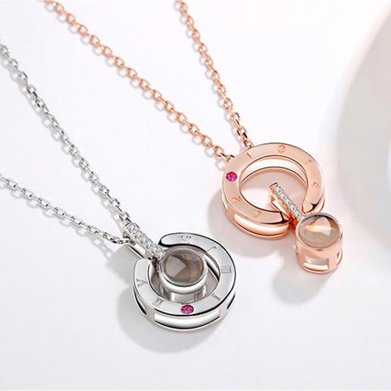 100 Languages Crystal Eyes Shape Pendant Projection Necklace For Memory of LOVE