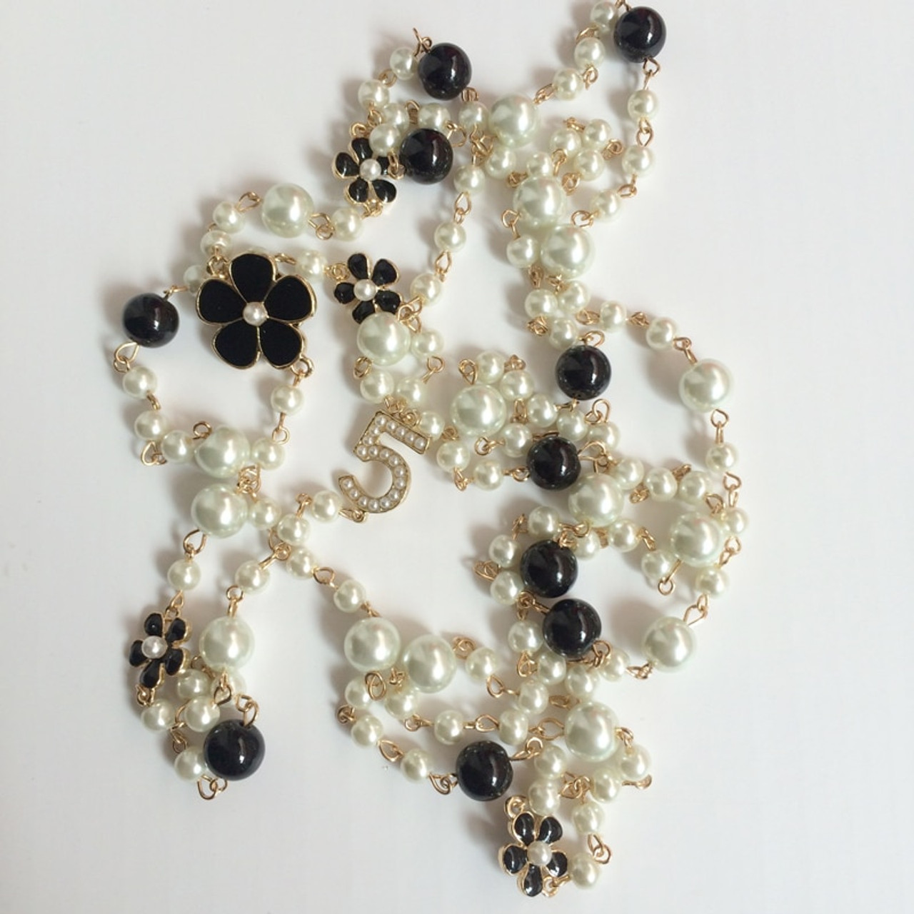 Long Pearl Necklace No.5 Double Layer collane cc Necklace Simulated Pearls New