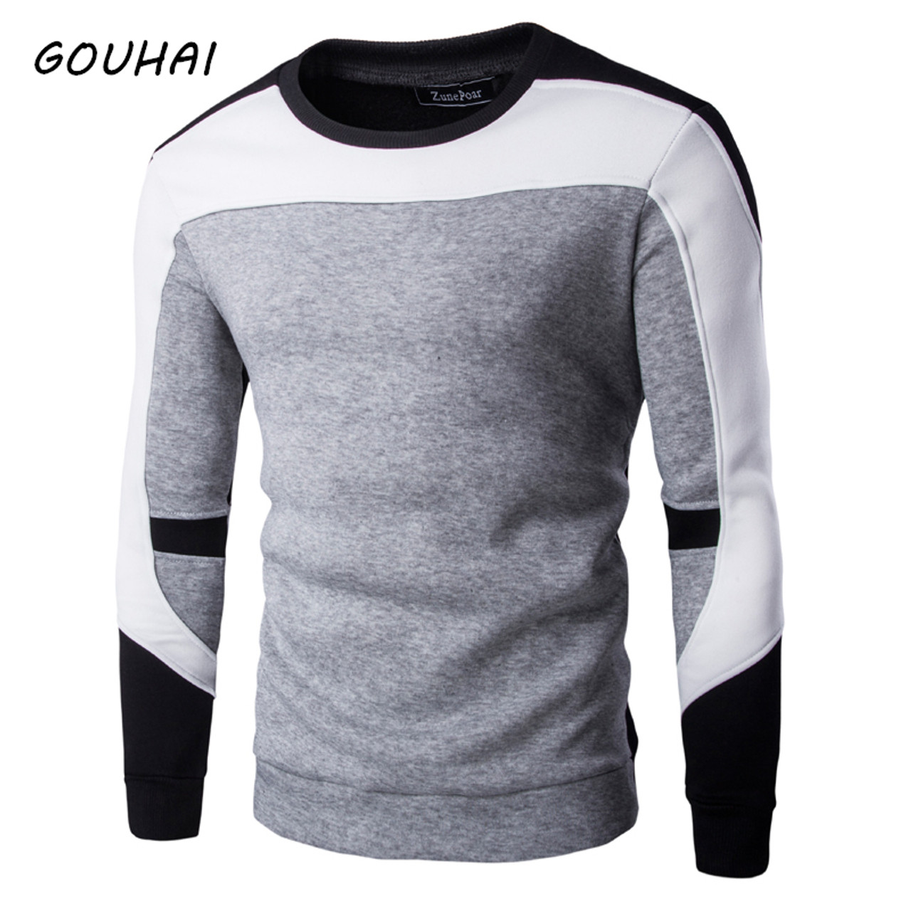 Coersd Man Autumn Spring Patchwork Long Sleeve Hoodies Sweatshirt Blouse Shirt