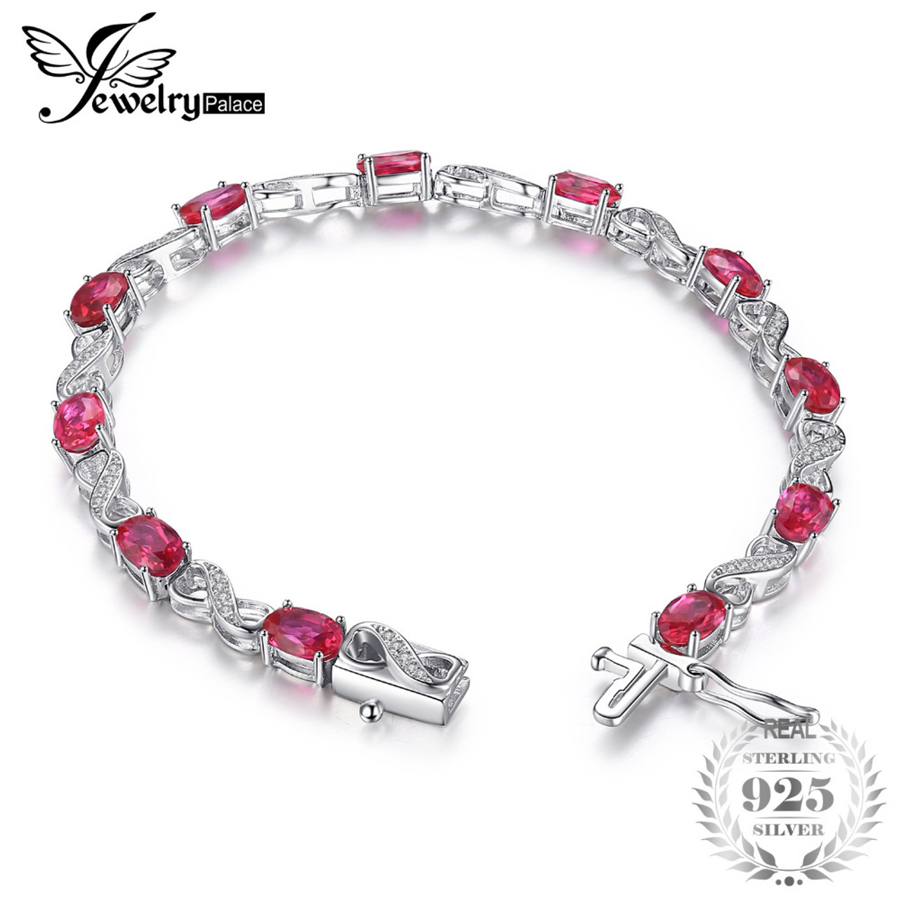 e6af41f9e JewelryPalace Love Infinity 6.8ct Oval Created Ruby Tennis Bracelet 925  Sterling Silver Fashion Wedding Jewelry ...
