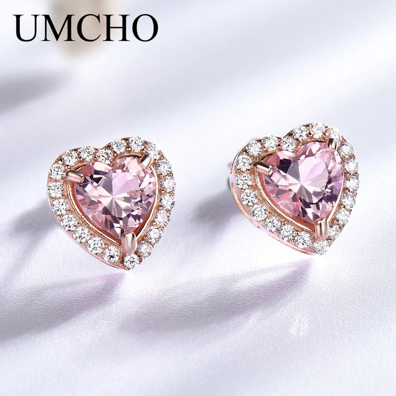 988ae118d49aa UMCHO Sweet Heart 925 Sterling Silver Earrings Created Nano Morganite  Earrings Anniversary Gifts For Women Fine Jewelry