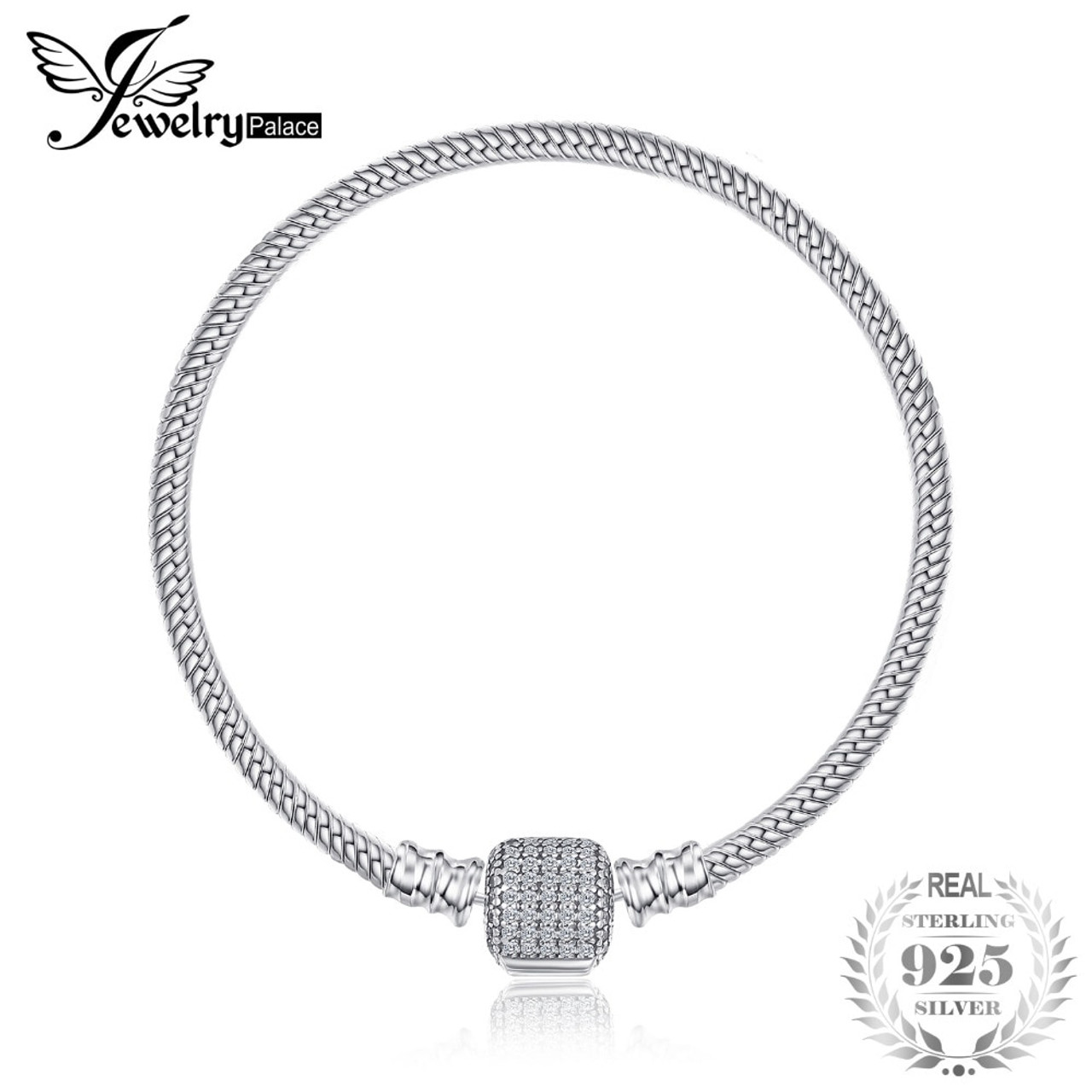 932211af0e535 Jewelrypalace Solid 925 Sterling Silver Elegant Signature Clasp Bracelets  16-19cm Gifts For Women Anniversary ...