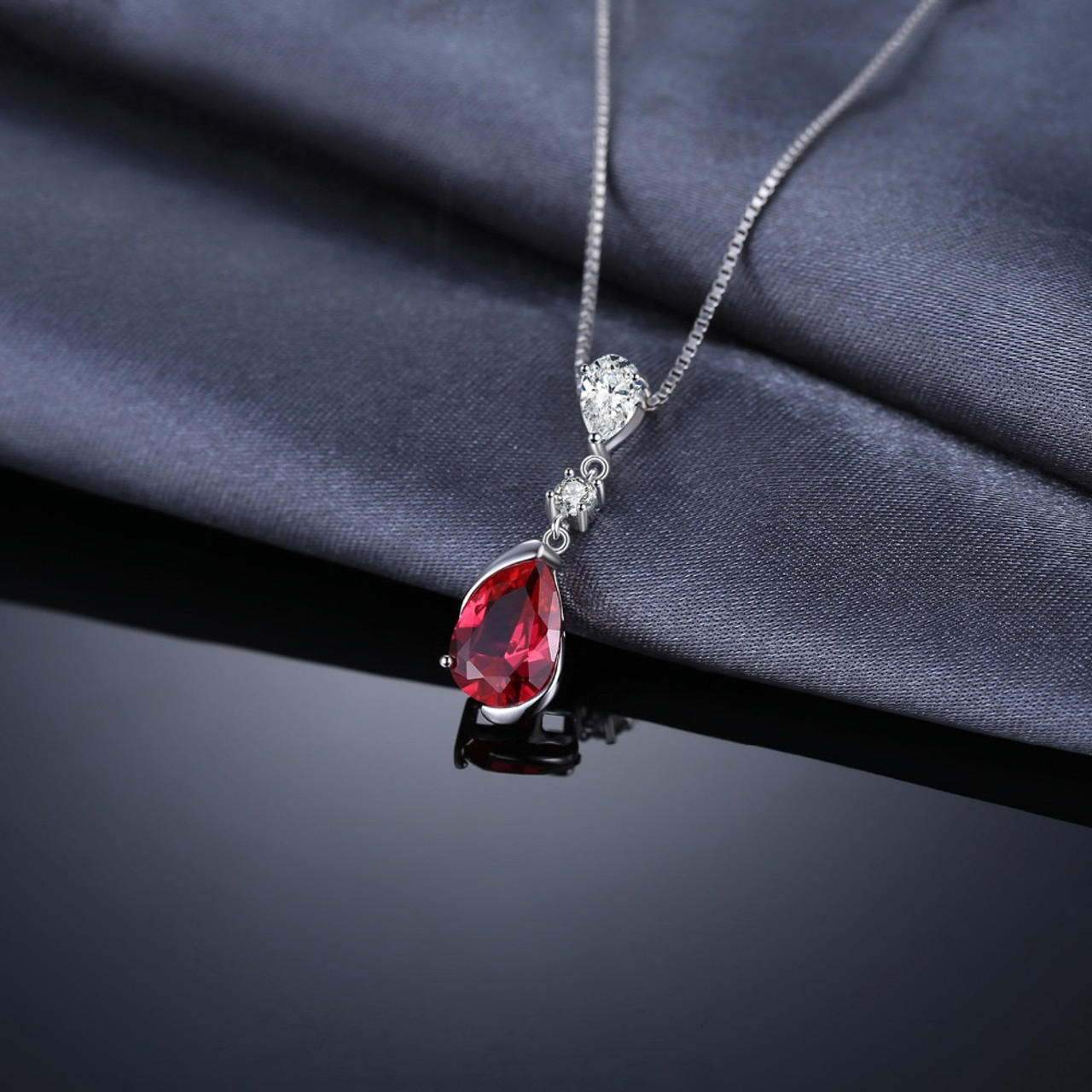 c0d01d6af8fe9 JewelryPalace 3.27ct Pear Red Created Ruby Drop Pendant 925 Sterling Silver  Fashion Fine Jewelry For Women Not Include the Chain