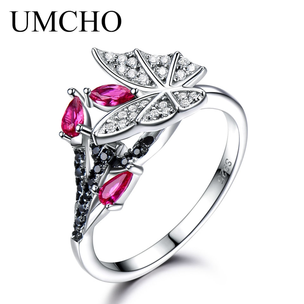 6e97d27f5617 UMCHO Solid 925 Sterling Silver Rings For Women Natural Black Spinel Ruby  Gemstone Fashion Unique Butterfly Ring Fine Jewelry - OnshopDeals.Com
