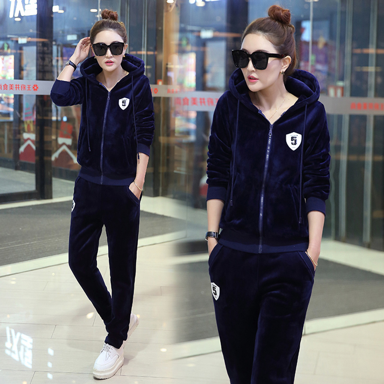 468ba69a Velvet tracksuit for women autumn and winter women's fashion large size  leisure suit female plus size jacket+pants 2 piece sets - OnshopDeals.Com