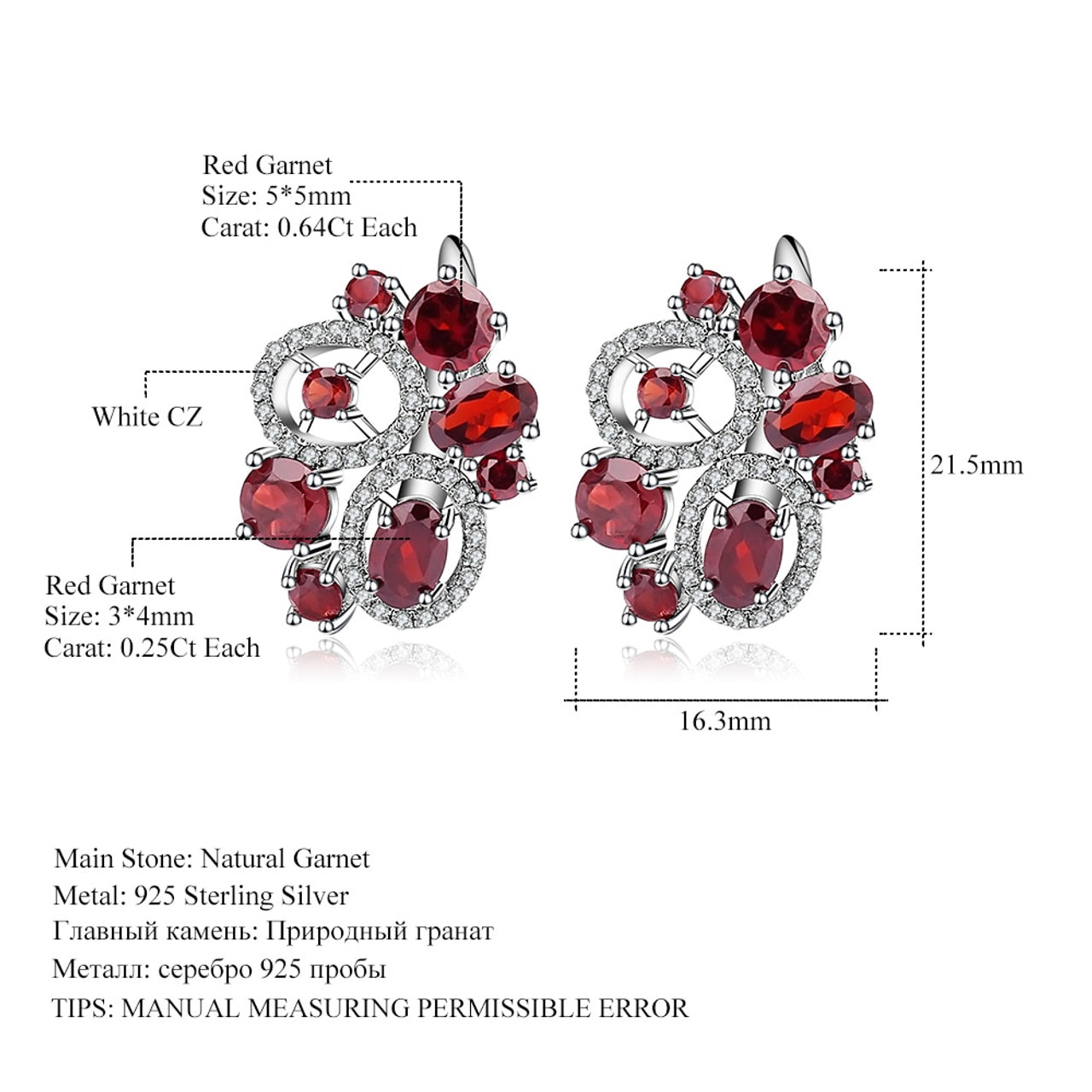 b005852cc ... GEM'S BALLET 6.23Ct Natural Garnet Gemstone Flower Stud Earrings 925 Sterling  Silver Fine Jewelry For ...