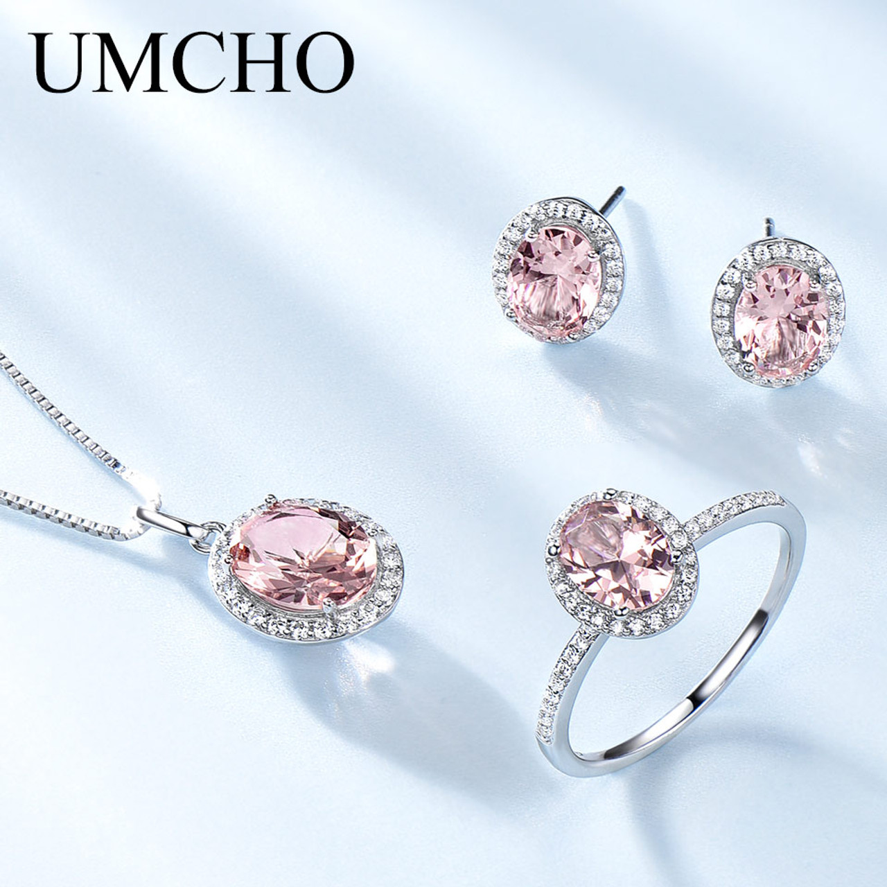 a6adf578f UMCHO Created Pink Sapphire Jewelry Sets Elegant 925 Sterling Silver  Jewelry Necklaces Rings Earrings For Women ...