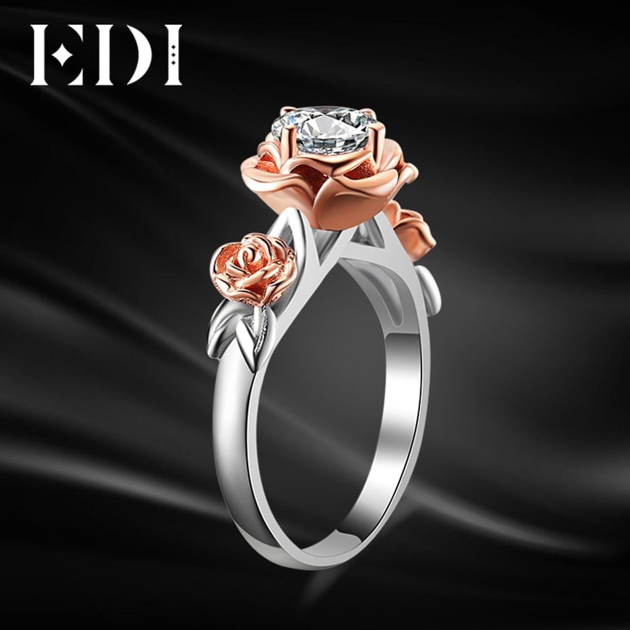 Edi Natural Topaz Rose Flower Crystal Engagement Ring Beauty And The