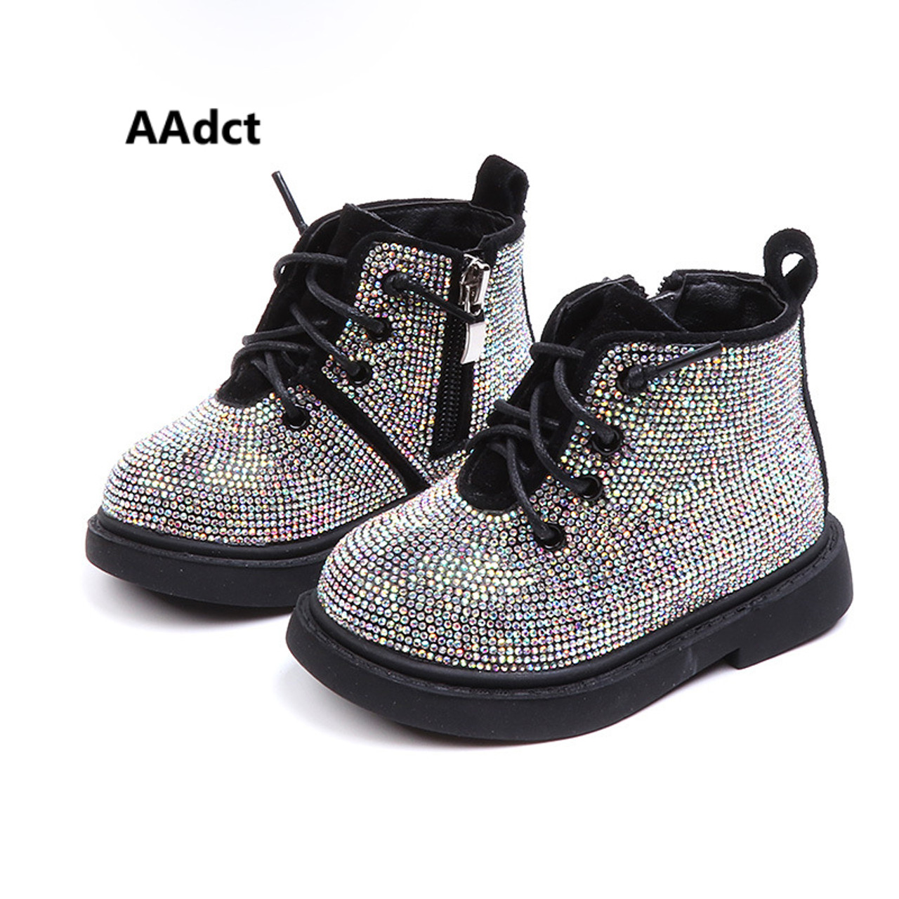 232960c4f63d AAdct Cotton warm crystal little girls boots Non-slip shinning baby boots  2018 Winter princess ...