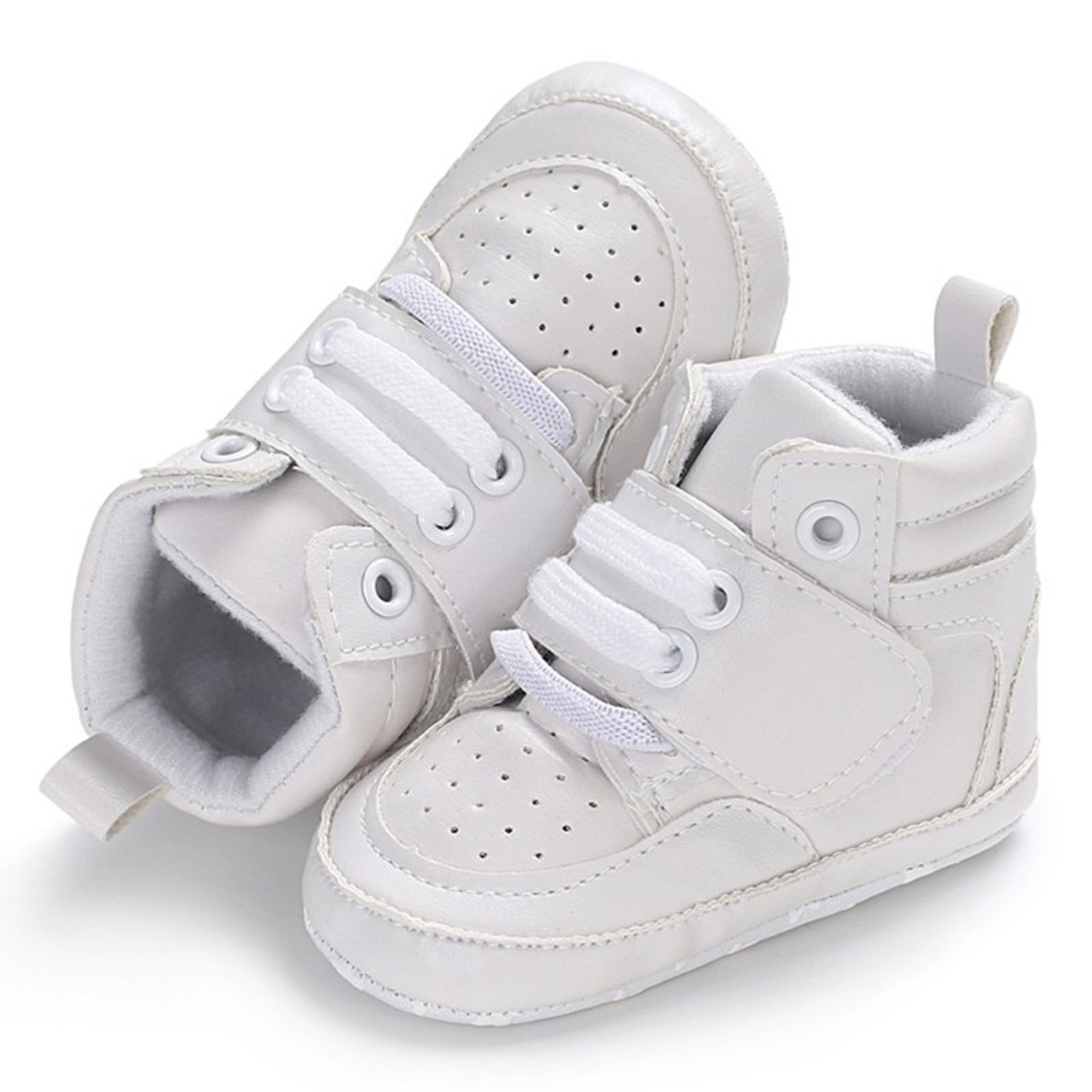4d5cb6472 Newborn Kids Sneakers Baby Boys Shoes High Top Solid Soft Sole First  Walkers Infant Toddler Antislip ...