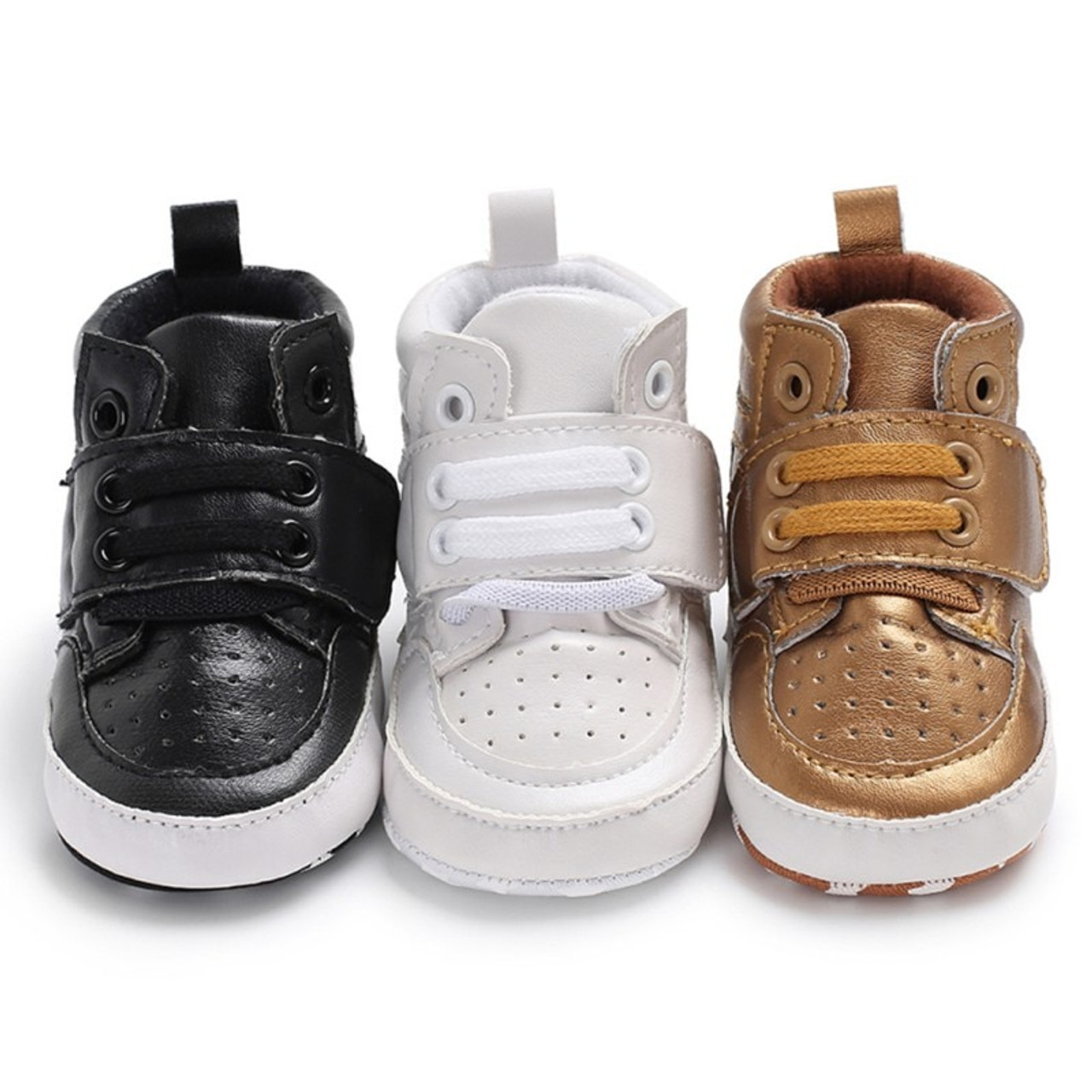 Newborn Sneakers High Top Solid Infant Toddler Antislip Prewalker Crib Shoes