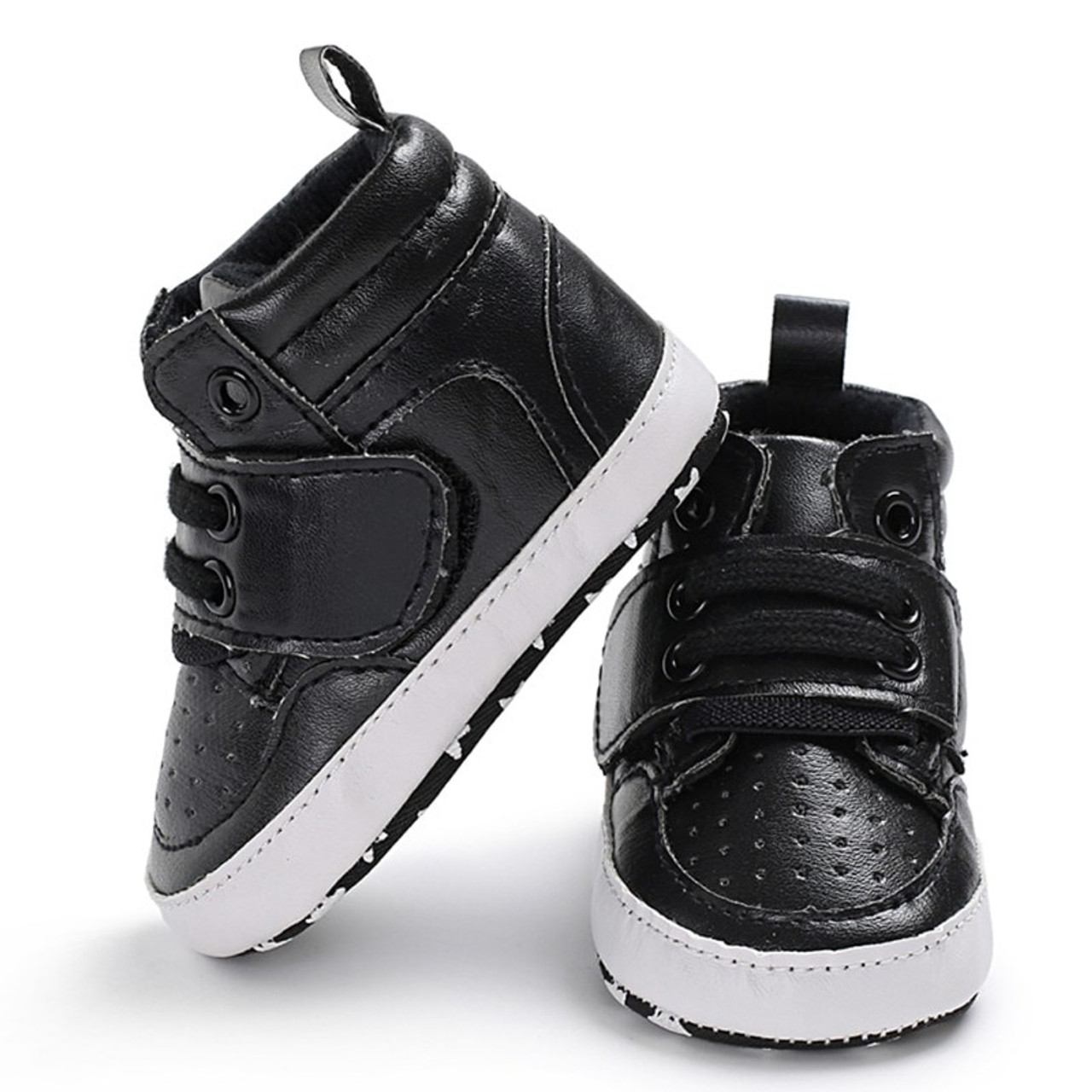 ... Newborn Kids Sneakers Baby Boys Shoes High Top Solid Soft Sole First  Walkers Infant Toddler Antislip ... 04b756db58d3