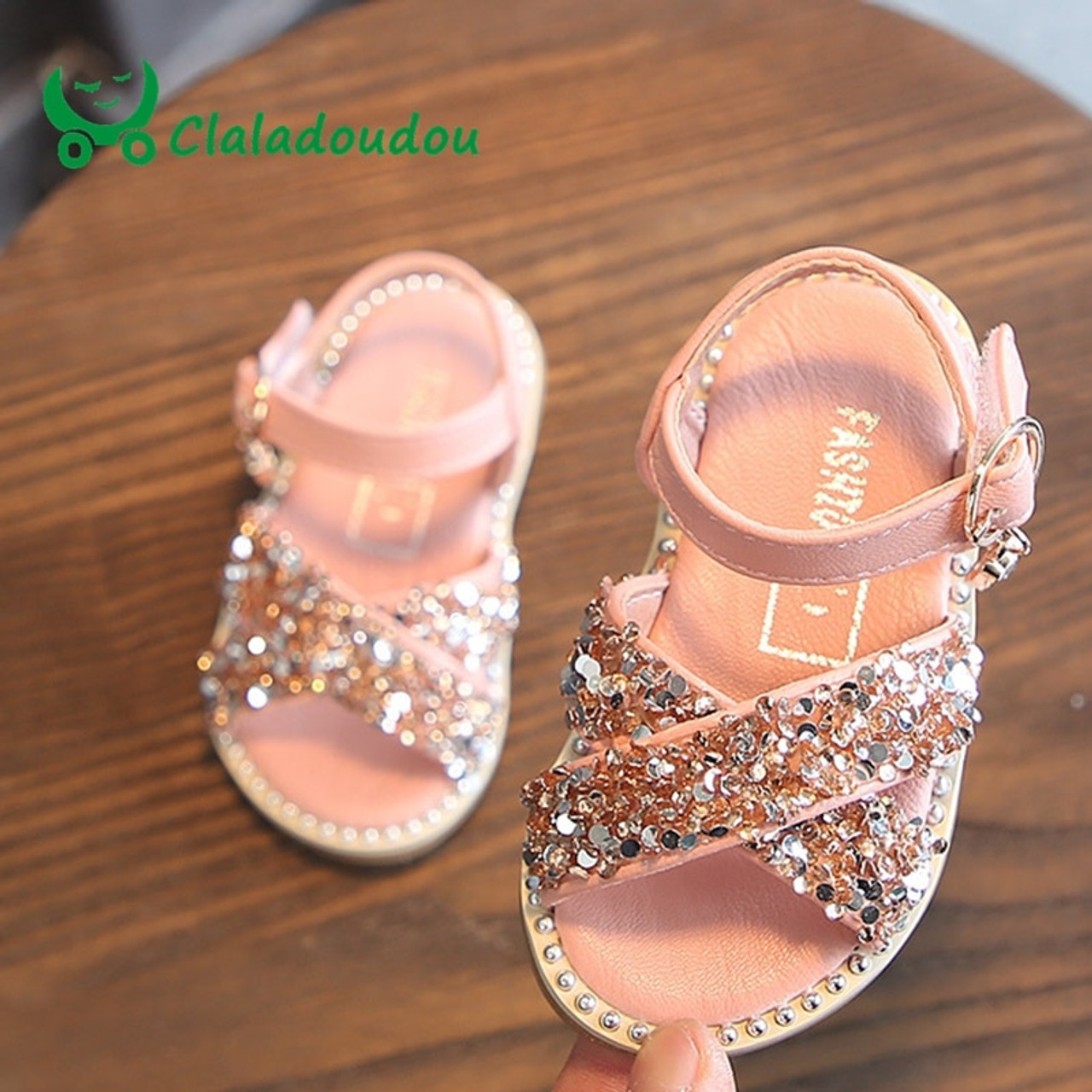 5dada59a739ed4 Claladoudou 11.5-15.5CM Baby Bling Shoes Pu Leather Infant Beige Rivets  Summer Sandals Kid ...