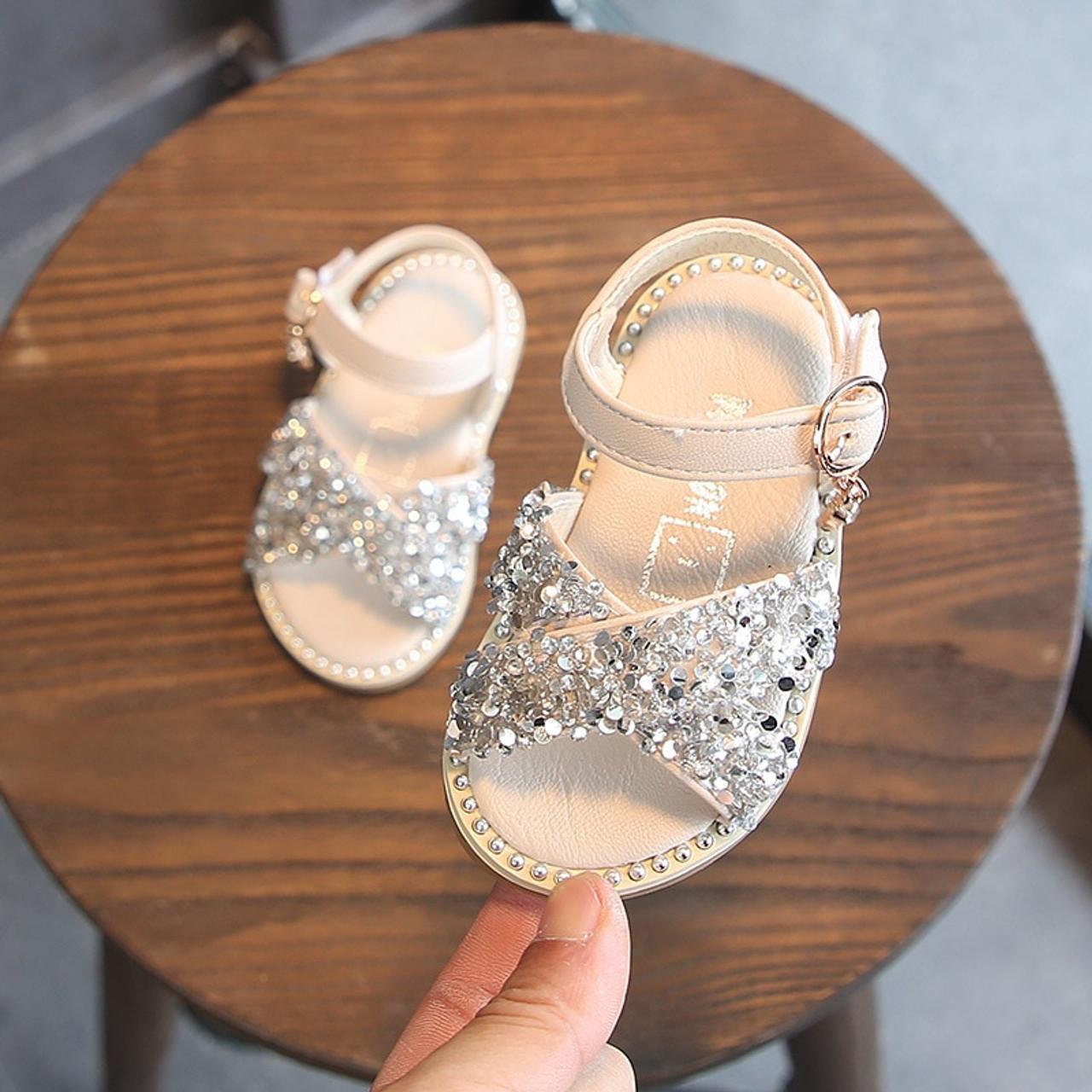 f1162d3a1846 ... Claladoudou 11.5-15.5CM Baby Bling Shoes Pu Leather Infant Beige Rivets  Summer Sandals Kid ...