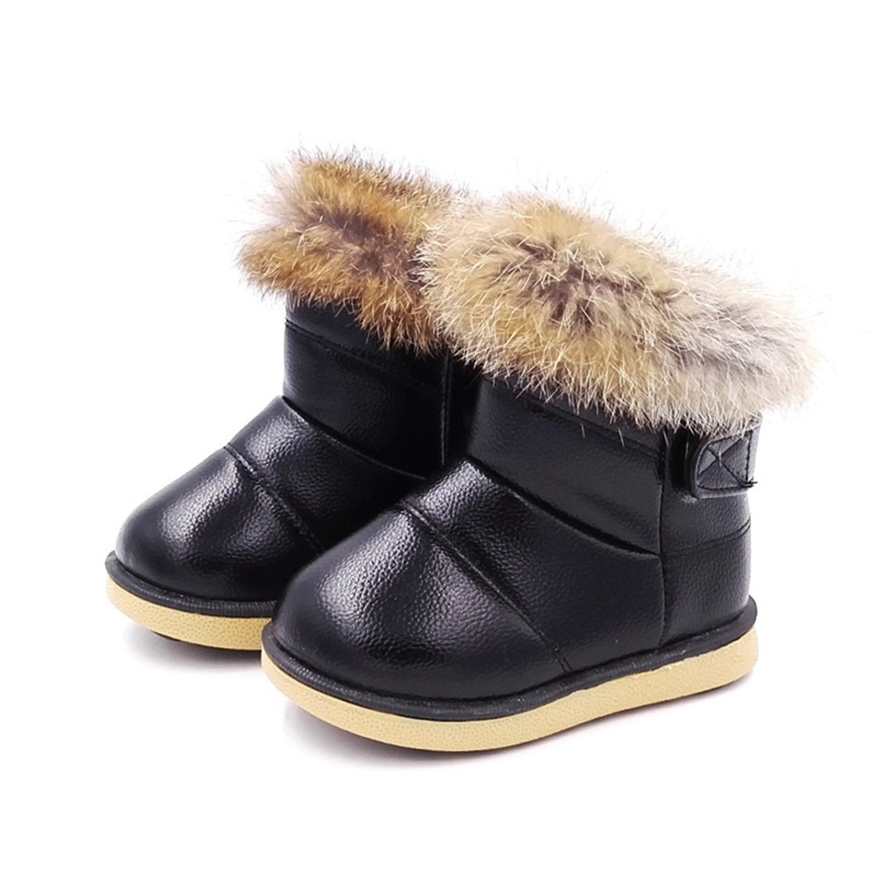 Winter Warm Plush Baby Girls Snow Boots Shoes Pu Leather Flat With Baby  Toddler Shoes Outdoor Snow Boots Girls Baby Kids shoes - OnshopDeals.Com
