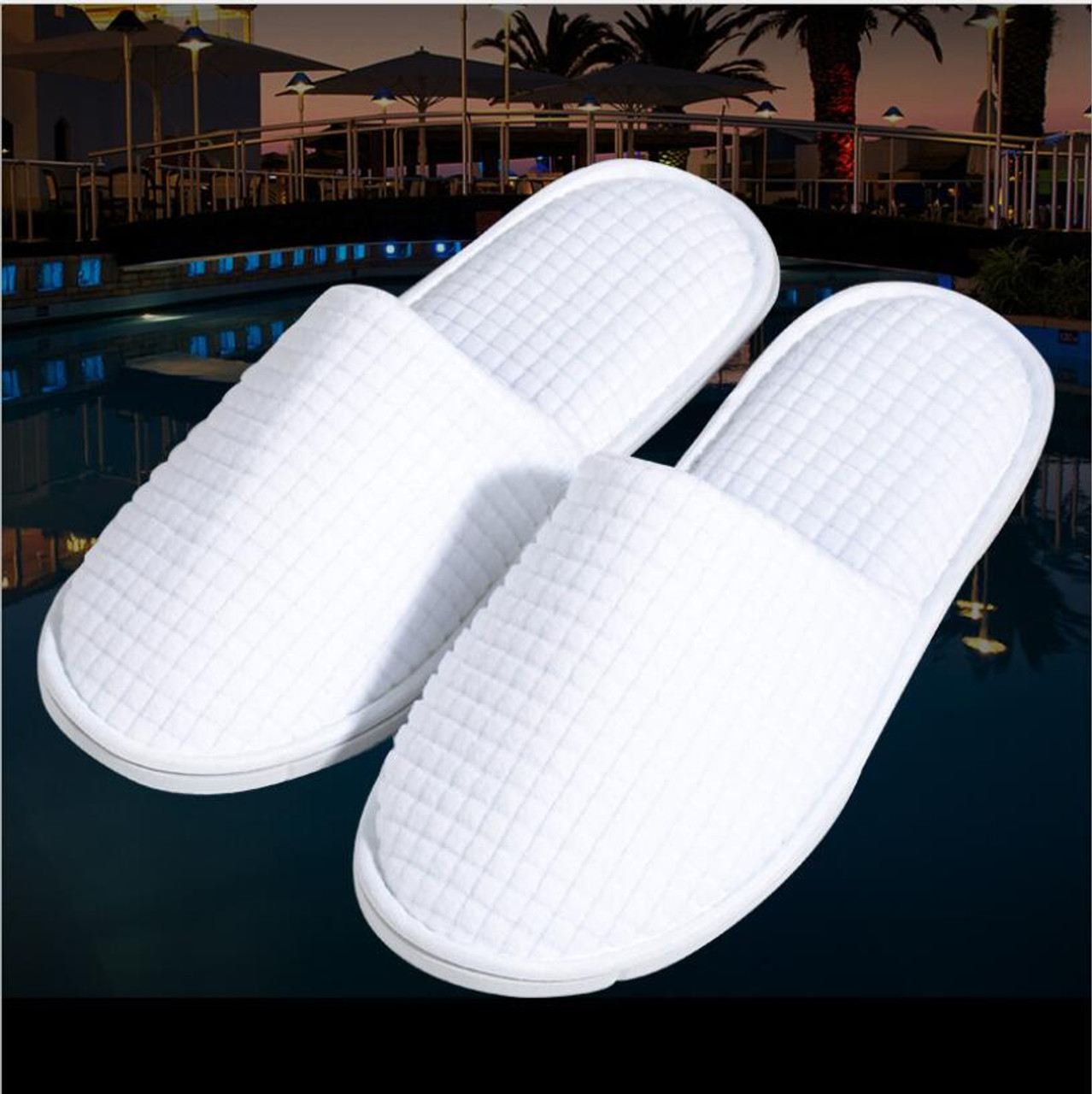 eec01941368b ... Top Quality White Fleece Close Toe Spa Slippers home guest slippers  Salon Spa Pedicure Flip Flop ...