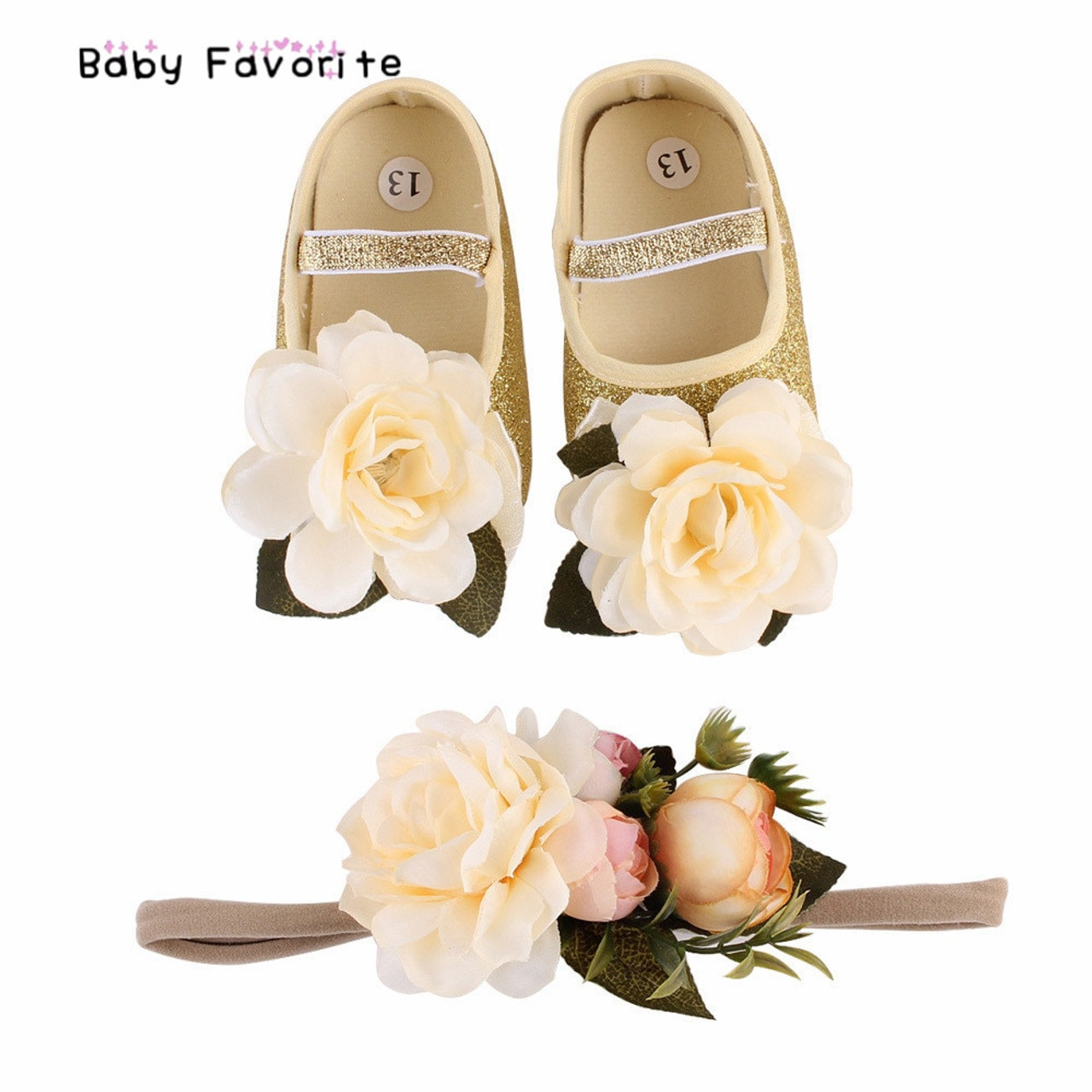 Unicorn Baby Moccasins Girls Crib Soft Shoes Flower Headband Birthday Outfits