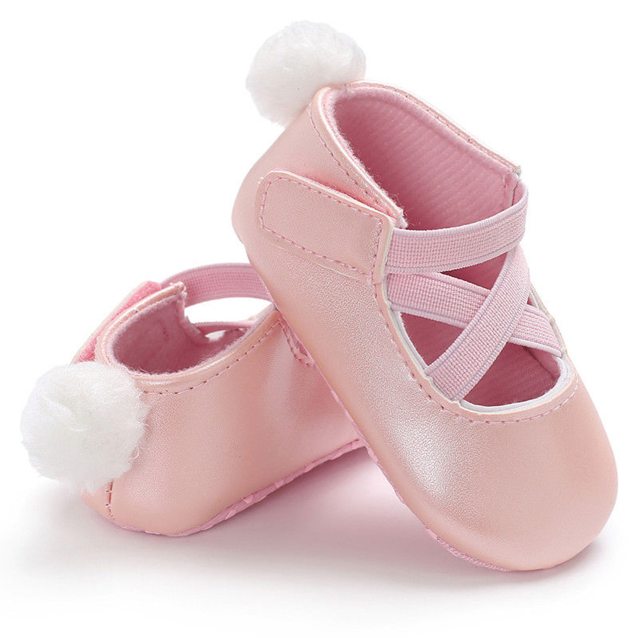 eee6950caf3ed ... 0-18M Toddler Baby Girl Pu First Walkers Princess Shoes cute pom shoes  Infant Prewalker ...