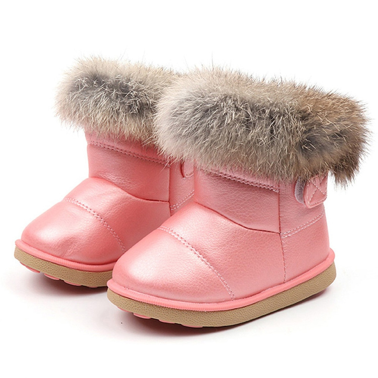 Kids Toddler Boys Girl Winter Warm Fur Snow Boots Leather Shoes Zipped Moccasins