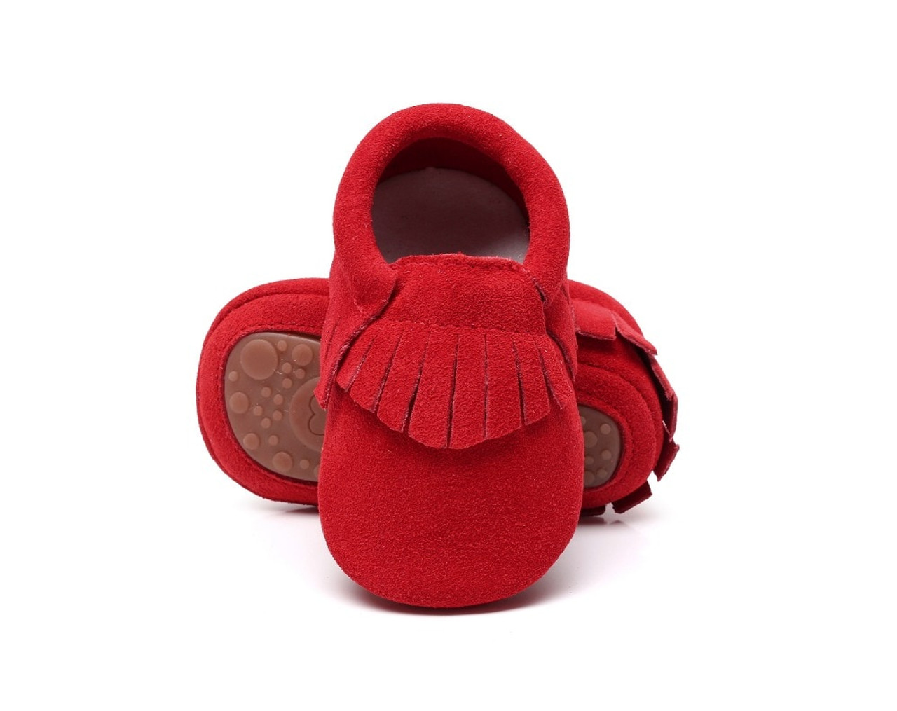 a652794572ed ... New hot sell genuine suede leather Baby moccasins shoes fringe solid  hard Rubber sole baby shoes ...