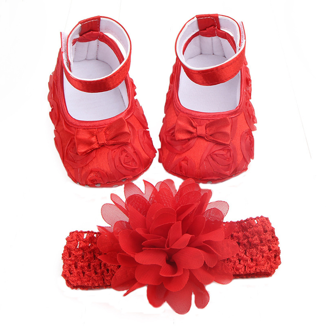 db5dfcc3d Baby Shoes Photo First Walkers Infant Footwear For Newborns Headdress Set  Head Flower Bows Toddler Soft ...