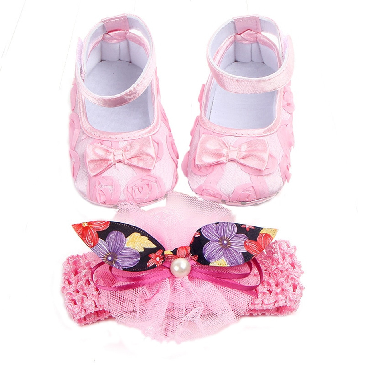 e2907c0f9 ... Baby Shoes Photo First Walkers Infant Footwear For Newborns Headdress  Set Head Flower Bows Toddler Soft ...