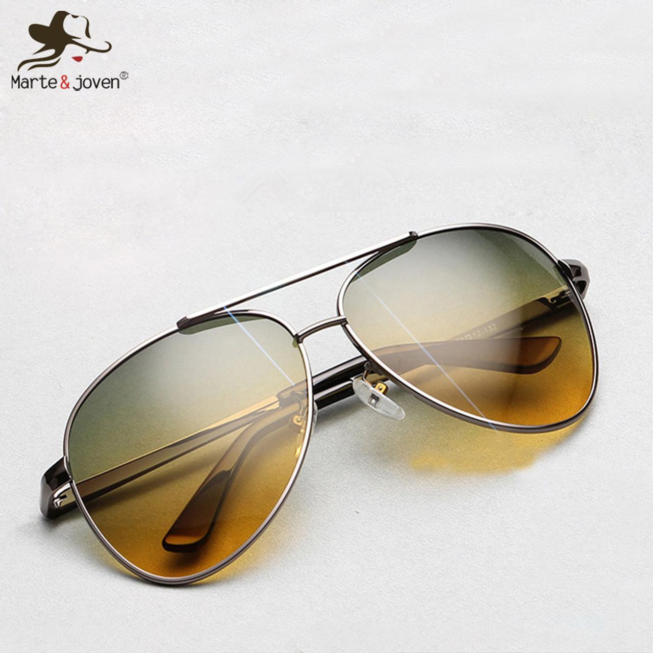 097c3382a87 2018 Top quality Pilot sunglasses Men s night vision driving polarized  sunglasses HD UV400 multifunction sport Glasses ...
