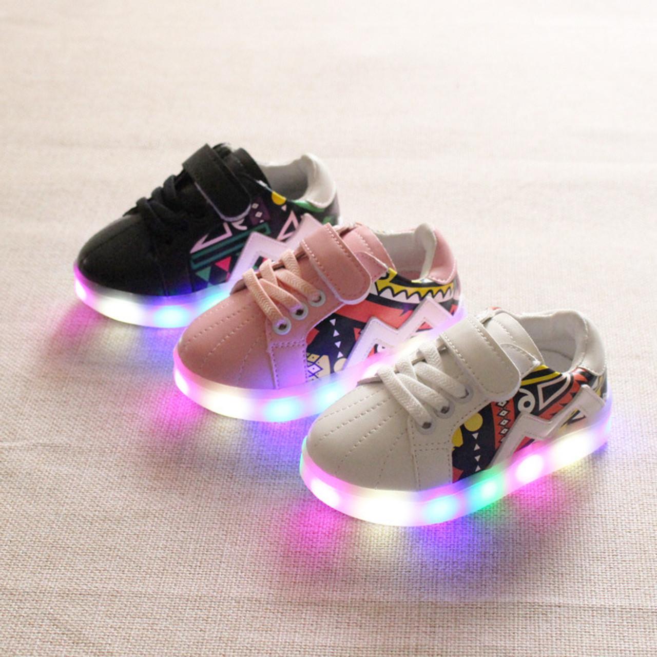 2018 Pu printing LED shoes baby Hook