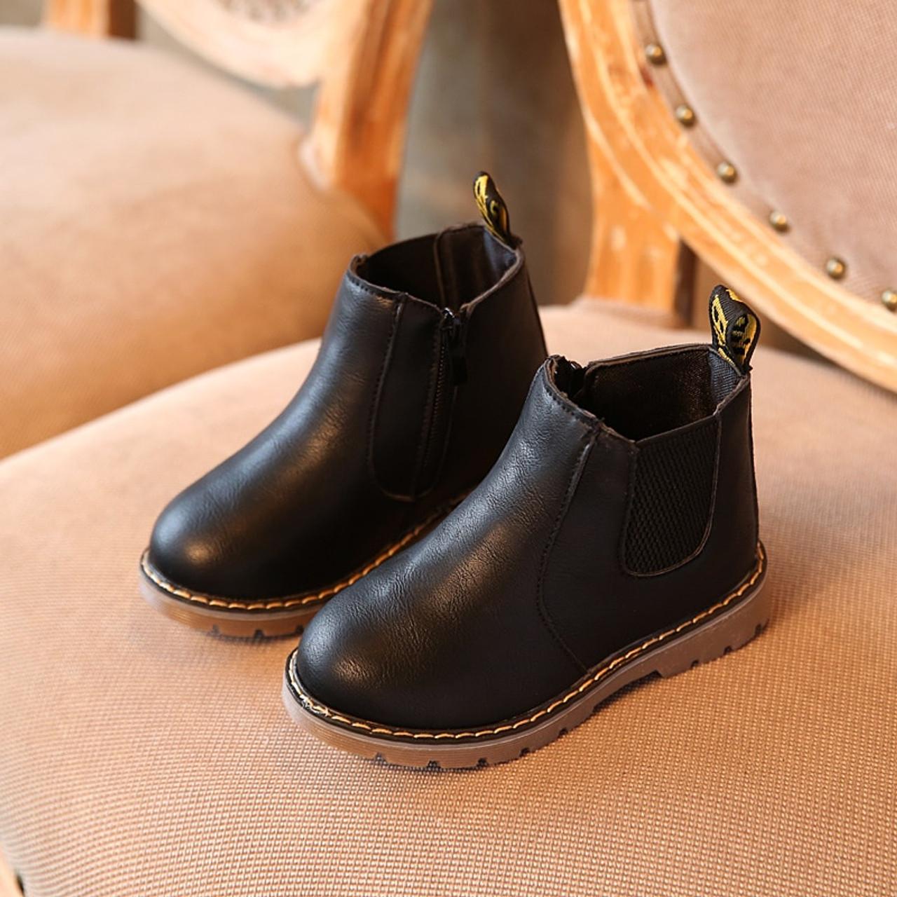 Hot SALE Children Shoes Boys Boots Autumn Winter Fashion Boys Gentleman  Shoes Kids Leather Shoes Girls Martin Boots Size 21,36