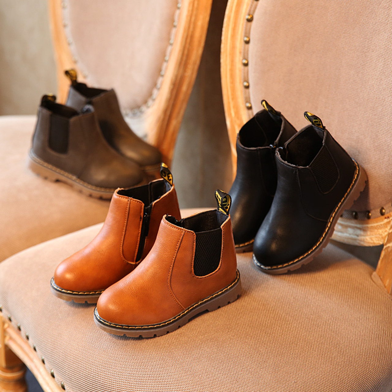 USA Kid Boys Girl Winter Warm Chelsea Ankle Boots Infant Faux Leather Shoes Size