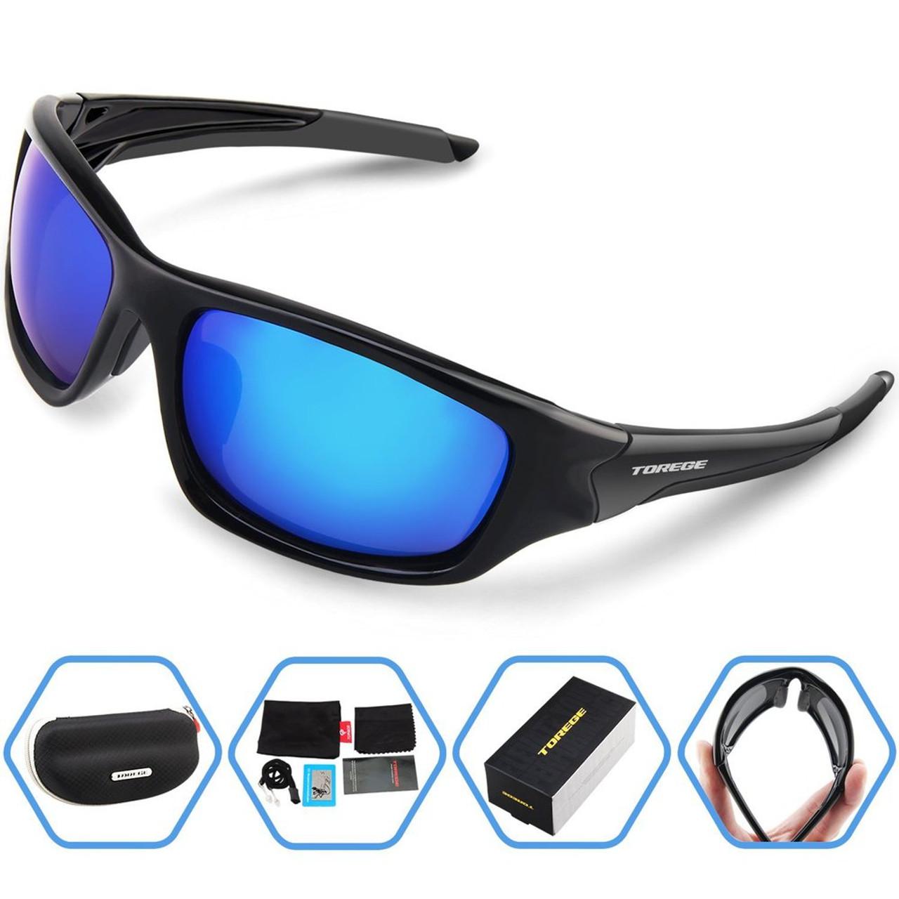 0087aab429 TOREGE Men s Fashion Polarized Sunglasses For Driving Glasses TR90  Unbreakable Frame Eyewear Unisex 100% UV400 ...